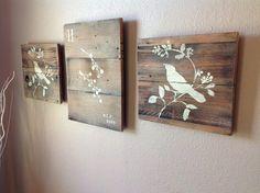 Reclaimed wood wall art set of 3 by DelHutsonDesigns on Etsy, $65.00