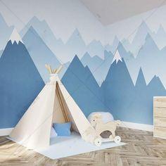 Geometric Wallpaper For Walls, Geometric Wall Paint, Wallpaper Wall, Mountain Bedroom, Mountain Mural, Mountain Nursery, Kids Wall Murals, Nursery Wall Murals, Mural Wall