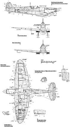 Aircraft blueprint of the Supermarine Spitfire Ww2 Aircraft, Fighter Aircraft, Military Aircraft, Airplane Crafts, Airplane Art, Photo Avion, The Spitfires, Supermarine Spitfire, Battle Of Britain