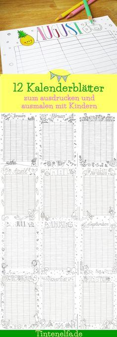 Kalender Kalenderblatt ausdrucken ausmalen Kinder Erwachsene malen Malvorlage Geschenkidee Jahresplaner Familienplaner DIY Blog Ruhrgebiet