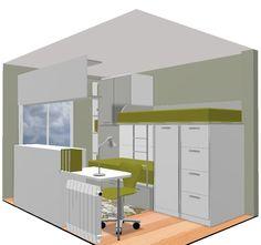 Nuevos proyectos. Dormitorio juvenil con literas y cama compacta por Mobles Cambrils, tu tienda de muebles en Cambrils, Tarragona.
