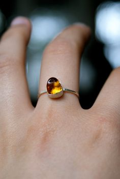 Mini genuine Baltic amber ring sterling silver band by hannahnaomi, $45.00  Want it!