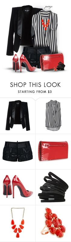 """Patent Leather Headlines"" by rockreborn ❤ liked on Polyvore featuring Balmain, Zara, Dsquared2, Valentino, Yves Saint Laurent, Dorothy Perkins and Kendra Scott"