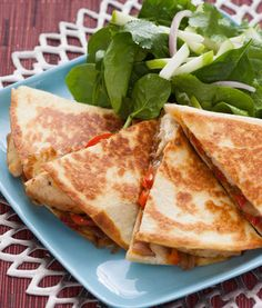 Recipe: Two-Cheese Chicken Quesadillas with Chive-Sour Cream & Spinach and Apple Salad - Blue Apron Gourmet Salad, Great Recipes, Favorite Recipes, Apple Salad, Chicken Quesadillas, Creamed Spinach, Original Recipe, The Fresh, Blue Apron