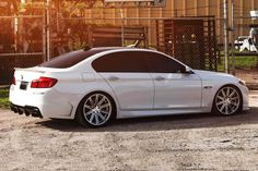 BMW, 5 Series, White, Stance