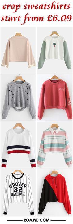crop sweatshirts from £6.09 - romwe.com