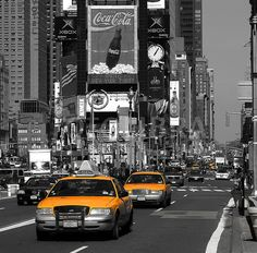 black & white picture with yellow cabs - Google Search