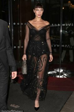 Sheer-ly not! Bella Hadid proved her famously fashionable flair on Monday night, as she slipped into another head-turning ensemble for a night out in Paris Bella Hadid Outfits, Bella Gigi Hadid, Bella Hadid Style, Maxi Gowns, Dresses, Fashion Models, Fashion Trends, Mannequin, Swagg
