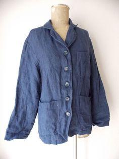 Industria Jacket Size Medium Linen Blue Coat Italy Business Career Blazer #Industria #BasicCoat