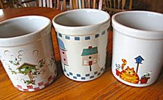 Robinson Ransbottom stoneware crock trio featuring birdhouses! For sale at More Than McCoy on TIAS!