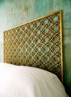 Gold headboard with greenish wall Gold Headboard, Green Headboard, Bedroom Green, Dream Bedroom, Bedroom Decor, Black White And Gold Bedroom, Muebles Home, Headboards For Beds, Metal Headboards