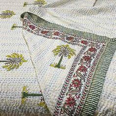 Kantha Quilts featuring an apricot background and stylised flower block printed pattern over cotton sheeting. Lovingly hand-stitched for Yummy Linen. Queen Bed Quilts, Quilt Sets Queen, Cotton Bedding, Quilt Bedding, Tree Quilt, Kantha Quilt, Quilt Cover Sets, Quilting Designs, Hand Stitching