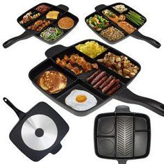 """Amazon.com: Master Pan Non-Stick Divided Grill/Fry/Oven Meal Skillet, 15"""", Black: Kitchen & Dining"""