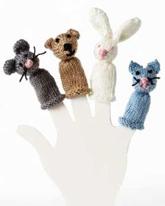 Put on your own show with this menagerie of fun finger puppets! Shown in Bernat Satin.