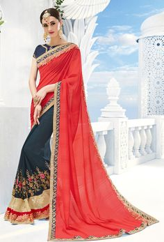 Red Georgette #Half N Half #Saree #nikvik  #usa #designer #australia #canada #freeshipping #saris