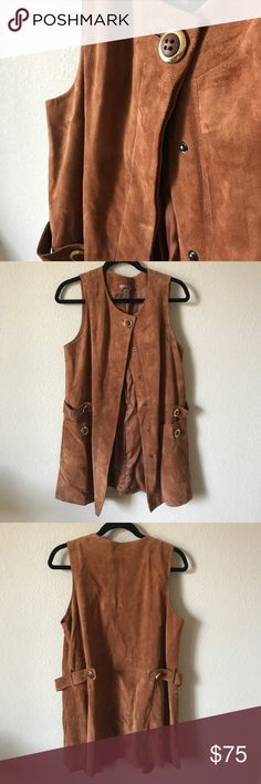 Brushed Leather Caramel Brown Sleeveless Coat Total 70's vibe & super CHIC! Call it a sleeveless coat or a long vest, either way this brushed leather (kinda looks like Suede) vest is gorgeous with its large gold trim buttons. The leather has some wear from age- overall great condition. I purchased this piece around 2005/6 when H&M first came to the west coast, this is a rare piece & I've never seen anyone else with it. Approx 19in Bust, 32in L - PERFECT for Fall H&M Jackets & Coats