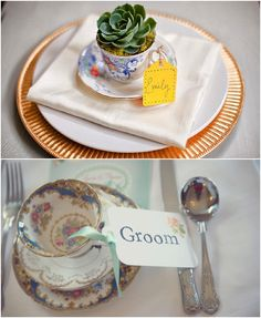 Vintage tea cup wedding decor-escort cards