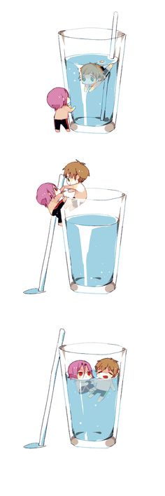 Tags: Anime, Swimming, Cup, Tiny Person, Climbing, Glass (cup), Matsuoka Rin