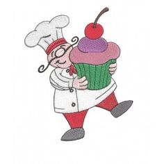 cute french chef with massive huge cupcake cherry on top curly mustache red pants filled machine embroidery design