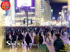 The Shibuya Crossing in front of Shibuya Station. According to the statistics, there are 45000 people passing here in just 30 minutes.