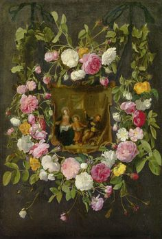 Daniël Seghers (1590–1661) — The Holy Family Surrounded by a Garland of Roses : The Liechtenstein Museum in Vienna, Austria  (1084×1600)