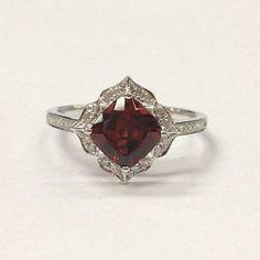 Garnet Engagement Ring 14K White Gold!Diamond Wedding Bridal Ring,7mm Cushion Cut VS Natural Red Gemstone,Retro Vintage Floral,Design Band