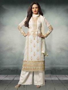 White Georgette Suit with Embroidery Work