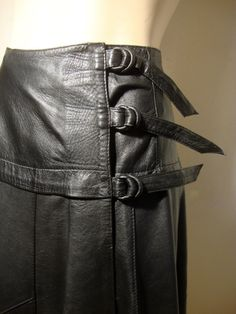 Black Leather Wrap Around Skirt , Kilt Skirt with Leather Buckles at Right Side Hip - Flared Leather Skirt