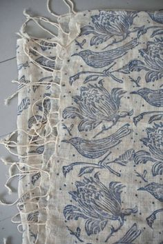 Blue Bird and Floral Linen Scarf ~ Textile Design, Textile Art, Fabric Design, Pattern Design, Painting Patterns, Print Patterns, Shabby Chic Stil, Stoff Design, Linens And Lace