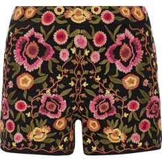 Alice + Olivia Marisa embroidered stretch-cotton shorts (8,015 MXN) ❤ liked on Polyvore featuring shorts, zipper shorts, floral print shorts, colorful shorts, floral shorts and multi colored shorts