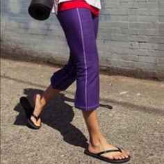 ⚡️SALE⚡️Lululemon gather and crow wee space capris Lululemon gather and crow wee space capris in caspian purple. Excellent condition so cute and hard to find! lululemon athletica Pants Capris