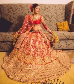 Papa Don't Preach Bridal Lehenga Red Gold Full Flare Mirrorwork Beadwork Threadwork Traditional Gota
