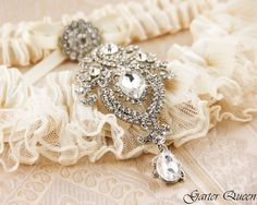 Wedding garter set Ivory stretch lace Bridal Garter by GarterQueen, $59.99