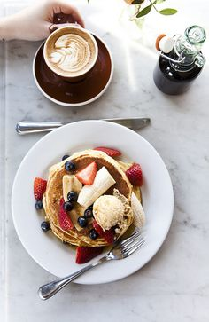 {Pancakes and coffee.}