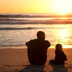 .@dominiccooley (Dominic Cooley) Sunset, time with daddy. Oceanside, beach, sand, tide