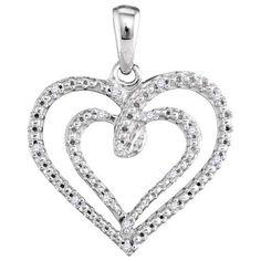 .05 Carat Round Diamond Heart Pendant