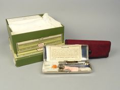 """Lilly's Ever-Aseptic Iletin Syringe Case, No. 65, about 1940. A 1947 guide for diabetics describes this kit as being made for injecting insulin, """"under conditions that prevent sterilization of the syringe and needle by boiling."""" The case includes: syringe kit and case, absorbent cotton, iso-propyl alcohol for sterilizing the syringe and needle, and a glass pipette."""
