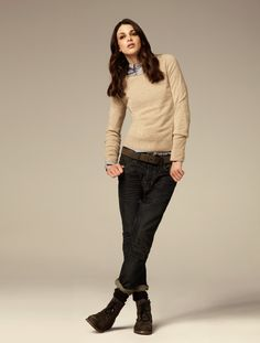 //preppie sweater + jeans w boots