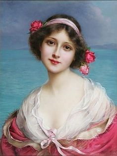 Official title unknown -- by Francois Martin-Kavel (1861-1931, French); portrait of a beauty, framed oil on canvas under glass.