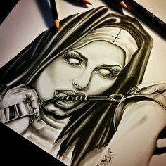 Devious Nun Drawing - Cassandra Sekulla by CassandraWilson