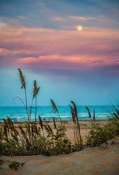 """""""The Moon And The Sunset"""" - South Padre Island. Such a cotton-candy sky over the beach Beautiful Sunset, Beautiful Beaches, Beautiful World, Landscape Photography, Nature Photography, Photography Tips, Beach Sunset Photography, Artistic Photography, Beach Scenes"""