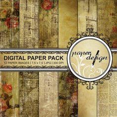 shabby papers grunge paper pack digital Background von Stilboxx
