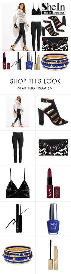 """""""buzz electric"""" by dora-upani ❤ liked on Polyvore featuring Steve Madden, H&M, Shiraleah, Fleur du Mal, NYX, OPI and Stila"""