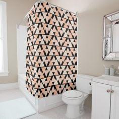 Pastel Orange Triangle Pattern Shower Curtain - shower gifts diy customize creative