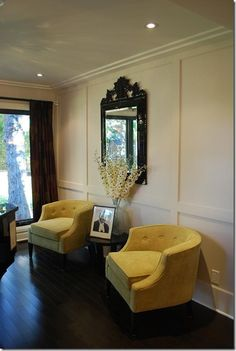 classic style yellow chair pair