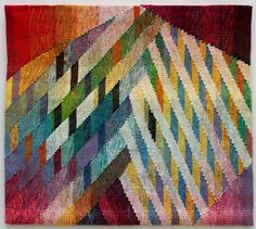 "Judith Poxson Fawkes Mt. St. Helens, 2013 linen inlay tapestry 27.5"" x 30.5"