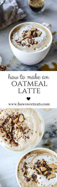 Oatmeal Latte - hubs made this on - he used almond milk to make this. The flavor was delicious on this. The texture takes a little getting used to but if you like oatmeal and brown sugar this is pretty good Coffee Recipes, Brunch Recipes, Breakfast Recipes, Breakfast Bites, Oatmeal Recipes, Milk Shakes, Yummy Drinks, Yummy Food, Cupcakes