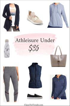 Athleisure Under $35 - Athleisure is a popular style all its own. With an athletic look, it's acceptable to wear this style of clothes outside the gym, all day. If you're on a budget, here's a few items like a hoodie, cardigan, panel leggings, heathered leggings, puffer vest, sneakers, tote, accessories and pullover, all budget priced.