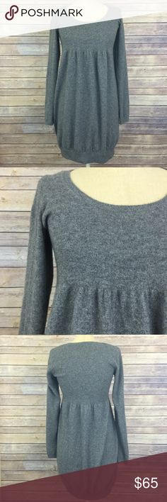 Vince 100% cashmere sweater dress, heather grey, S This Vince dress is so unbelievably soft and comfortable! It's a size Small and runs true to size.  Only worn a couple times, it's in excellent pre-owned condition! It's a pretty heather grey color with long sleeves and an empire waist! Would look super cute with a skinny black belt and boots!  This is 100% cashmere. Vince Dresses Long Sleeve