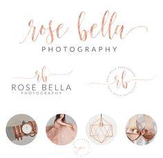 Rose gold Branding kit Logo Design Premade Branding Package- watermark- submark- stamp- business logo ROSE BELLA by PeachCreme on Etsy Custom Logo Design, Custom Logos, Branding Kit, Branding Design, Flowershop Logo, Watermark Ideas, Wedding Logos, Wedding Venues, Calligraphy Logo